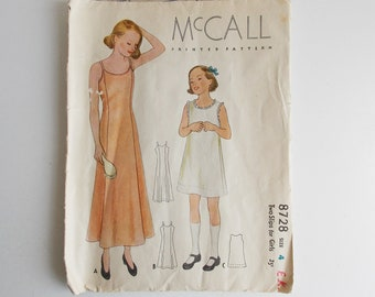 1930's vintage pattern, McCall 8727, 1936 sewing pattern, two slips for girls, size 4, children's pyjama, girl's nightgown, nightie size 4.