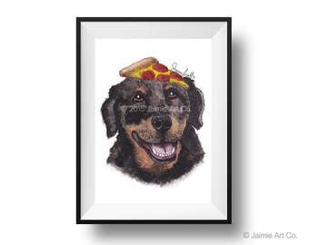Dog Art Print - Rottweiler and Pizza, Childrens Art, Kids Wall Art, Frameable Art, Animal Wall Art, Dog Art, Dog Portrait, Pet Art