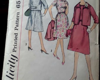 Simplicity Vintage Pattern Dress and Jacket 4392 Size 16.5 Retro