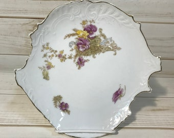 Antique White Floral Plate with Gold Rim