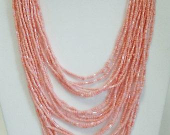 Peach Multi Strand Beaded Necklace / Peach Multi Strand Long Necklace.