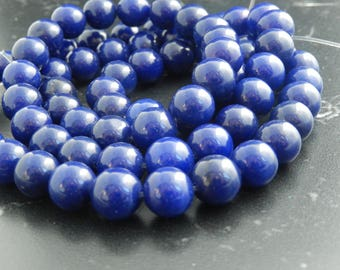 indigo blue Jade 10mm ref 635 10 beads