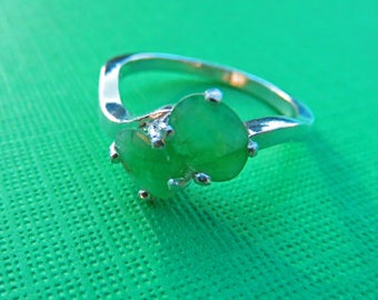 Emerald Ring - Double Emerald May Birthstone Ring - Natural Mine Green Emerald & Sterling Silver Ring - Woman's Ring Size 8