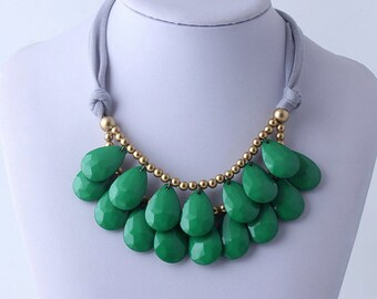 Anthropologie Green Necklace, Bib Necklace, Green Statement Necklace, Teardrop Necklace, Statement Necklace