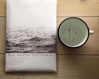 Letter Writing Set, Due North Stationery Set, Letter Writing Sheets, Set of 20, Stationery Gift Set, Made in Alaska, Ocean Wave