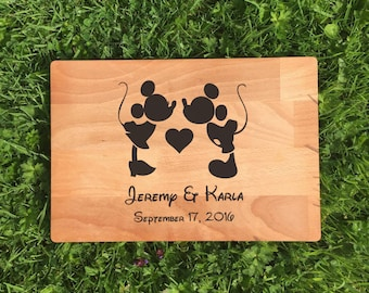 Personalised Micky & Minnie Disney Laser Engraved Chopping Board, Wedding Gifts, House Warming, Couples, Cheese Board