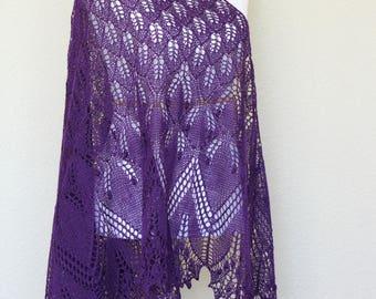 Knit shawl, knit wrap, lace shawl in purple color, triangular shawl, gift for her, wedding shawl, bridesmaids shawl