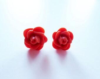 Orange rose earrings.  Small earrings.  Orange flower earrings.  Stud post earrings.  Sterling silver.  Itty bitty earrings.