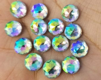8mm Rainbow Clear Multifaceted Rhinestone Resin Cabochons -10pcs