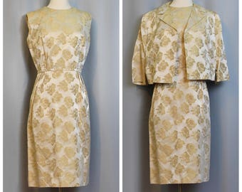 Gold Jacquard 50s Rose Print Wiggle Dress and Jacket