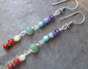 Chakra Earrings ~ 7 Chakra Gemstones ~ Yoga / Spiritual / Metaphysical Jewelry