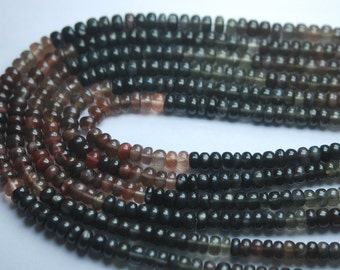 4x7 Inch Strand,NATURAL Sillimanite CAT'S Eye Smooth Rondelles, 5-6mm