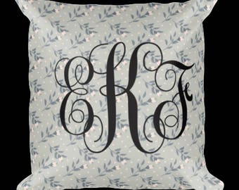 Decorative Pillow, Monogram Pillow, White Background 18x18 inch Pillow, Polyester, Yellow Print, Brown Print, Pink Flower Print, Grey Flower