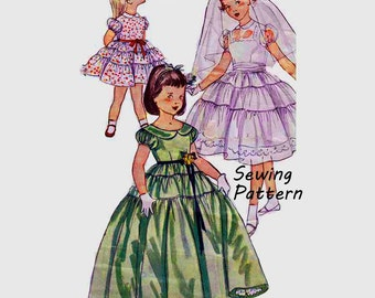 """Simplicity 4135 Toddler Girls' Tiered Flower Girl Dress Day One-Piece Dress Formal Dress Sewing Pattern Vintage 1950s Size 2 Chest 21""""/ 53cm"""