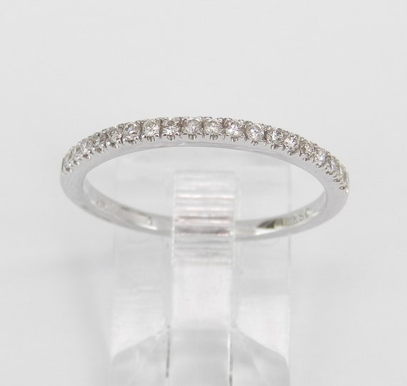 Diamond Wedding Ring Anniversary Band Size 7.25 14K White Gold Stackable Natural