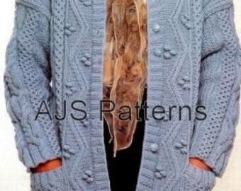 PDF Knitting Pattern For Ladies Bold Patterned Aran Jacket - Instant Download