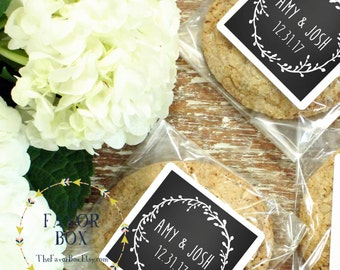 24 Personalized Cellophane Cookie Bags, Candy Bags - Laurel Chalkboard Label - Chalkboard Wedding Favor, Wedding Favor Bag