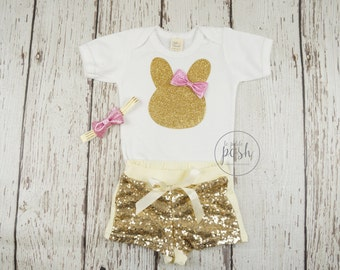 my first easter outfit, 1st easter outfit, baby girl easter outfit, bunny shirt, gold bunny shirt, baby girl easter shirt, easter clothes