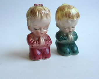Vintage Praying Children Salt and Pepper Shakers - B7