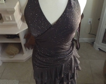 NWT Brown Sparkly Glitter Layered Halter Evening Party Dancing Dress size 5/6