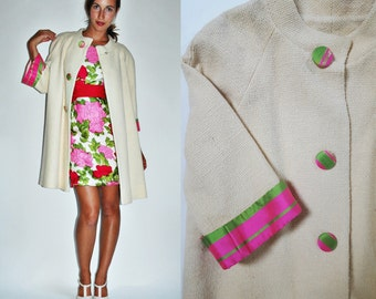 1960s Wool Early Spring Cream Swing Coat with Pink / Green