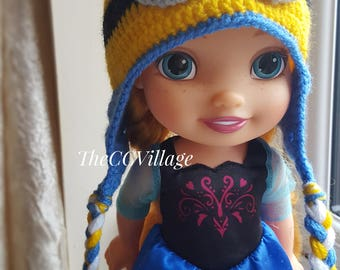 Crochet minion Hat for baby, yellow blue boy & girl earflap hat for spring