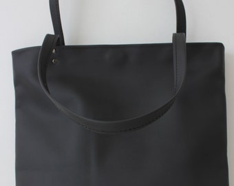 Black Leather Tote Bag, Matte Finish Black Leather Bag,  Fully Lined with Red Fabric