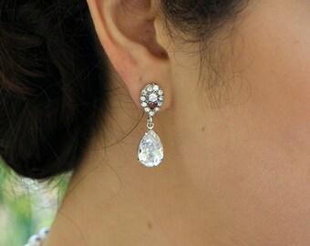 Bridal Earrings Bridal Rhinestone Earrings Swarovski Crystal Crystal earrings Bridal Earrings Bridal Stud Earrings Wedding Earrings DANAY