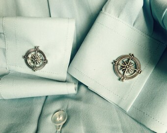 Compass Cuff Links Steampunk Accessories for Men and Women Wedding Party Gift Choice of Antique Bronze or Silver