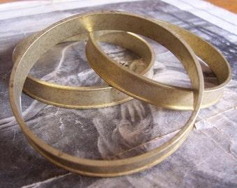 1 PC Raw Brass Channel Bangle Bracelet - B020