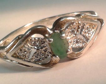 Emerald and diamond ring in sterling silver estate find