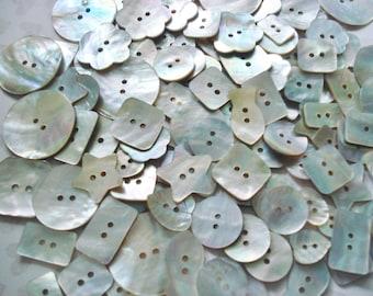 Assorted MOP Buttons - 50 Abalone Buttons - Akoya Shell Buttons - Square Shell Buttons - Dimi Akoya Buttons - Fancy Akoya Shell Buttons