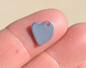 1 Stainless Steel 12mm Heart Blank  Charm EB50