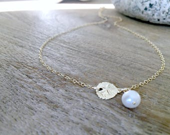 14k Gold Sand dollar Necklace Pearl Necklace Pearl Jewelry Beach Jewelry Sand dollar Jewelry Girls Jewelry Beach Wedding Bridesmaid gifts