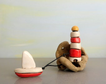 Lighthouse, red and white lighthouse , miniature sculpture , miniature boat , lighthouse decor , housewarming , lighthouse art , man cave