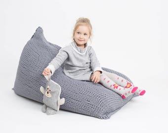 16 colors BEAN BAG knitted / floor cushion/ hypoalergic bean bag/rope  bean bag/ footstool