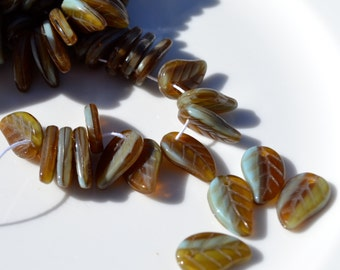 Turquoise and Brown Leaf Czech Glass Beads  25