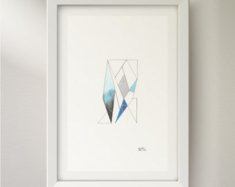 Original Abstract Watercolour Painting/ Art - Minimalist, Geometric Art in Blue and Silver