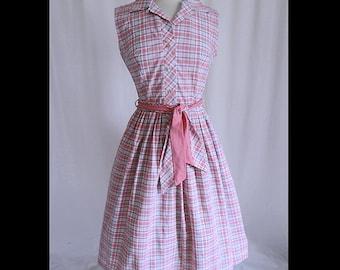 1950s Pink Plaid Shirtwaist Dress