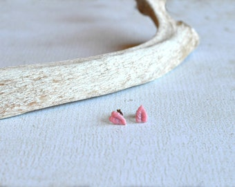 Vintage Leaf Earrings- Tiny Leaf Studs- Pink Earrings- Titanium Leaf Earrings- Hypoallergenic- Tiny Titanium Earrings- Small Leaf Studs