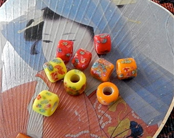 Vintage Glass Beads, Large Hole Japanese Beads, Vintage Crow Millefiori Beads, 9 pieces