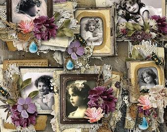 Digital Scrapbook Clusters, Vintage Digital Frame Clusters, Digital Scrapbooking Frames, Frame Set, Digital Scrapbook, Heritage, Genealogy,