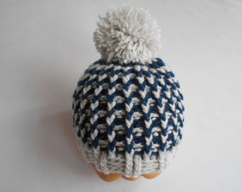 baby boy, baby Beanie Hat hand knit Navy Blue and grey