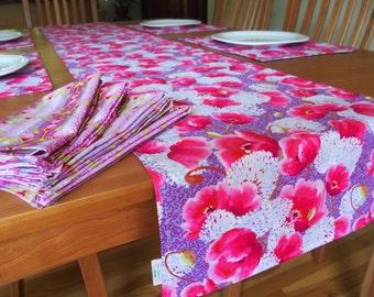 "Lavender Table Runner with Dark Pink Flowers, Floral Tablerunner with Allium and Poppy Flowers, Filigree, Reversible, 84"""