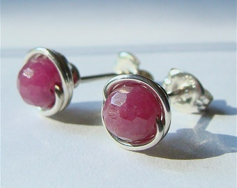 Faceted Ruby Studs Small Ruby Post Earrings Wire Wrapped in Sterling Silver Earrings Ruby Studs Birthstone Earrings