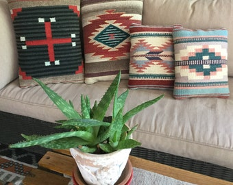 4 Vintage Woven Wool Native American, Mexican Southwest Tribal Ranch Pillows
