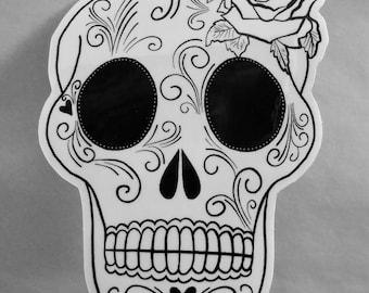 Black & White Sugar Skull Sticker