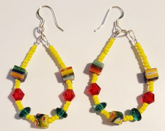 Colorful Millefiori Cubes mixed with Canary Yellow Seed bead Wire Hoop Earrings