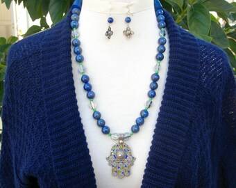 BEAUTIFUL Moroccan Silver Lapis & Enameled Hamsa, Hand of Fatima, Lapis and Sterling Silver Beads, Silk Road Necklace Set by SandraDesigns