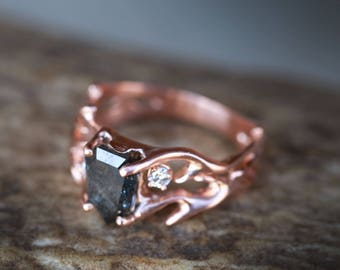 14K Rose Gold Twig-Styled Band with Salt and Pepper Diamond & Two Offset Diamonds - Staghead Designs